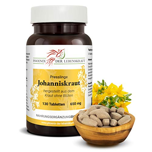 Johanniskraut Tabletten à 650mg (Hypericum perforatum, Johanneskraut), 130 Tabletten, Premium Qualität, Hergestellt in Österreich, Tabletten statt Kapseln, Vegan
