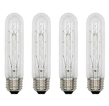 Creative Hobbies 3090  Pack of 4  40T10/CL - 40 Watt T10 Clear Tubular - 120V - Medium  E26  Base - Incandescent Light Bulbs