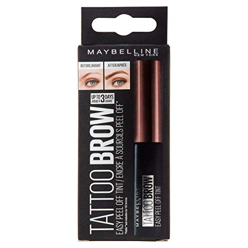 Maybelline New York Augenbrauenfarbe, Tattoo Brow Gel Tint, Mit Peel-off-Formel, Nr. 3 Dark Brown, 5 ml