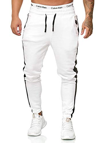 OneRedox Herren Jogging Hose Jogger Streetwear Sporthose Modell 1211 (XXL, Weiss)