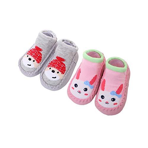 Calcetines Antideslizantes para Bebé Niños Niñas Zapatos Bebe de Primer Paseo 12-18 Meses Grey Dog/Pink Rabbit