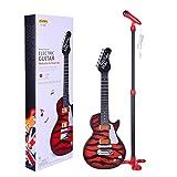 DSXX Guitarra Electrica con Micro, Instrumentos Musicales Infantiles con Micrófono de Pie, Guitarra de 6 Cuerdas, Juguete Educativo Electrónico, Niños - Rojo + Negro