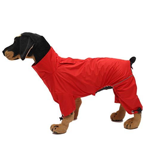 Geyecete hond Zip Up hond regenjas, regen/waterbestendig, hond regenjas lichtgewicht huisdier waterdichte jas voor grote middelgrote en kleine honden puppy vier benen Poncho, L, Rood