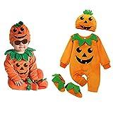 Geagodelia Body de bebé unisex de manga larga, cuello redondo, estampado de calabaza sonriente, ideal para otoño y primavera, Naranja B, 0-6 meses