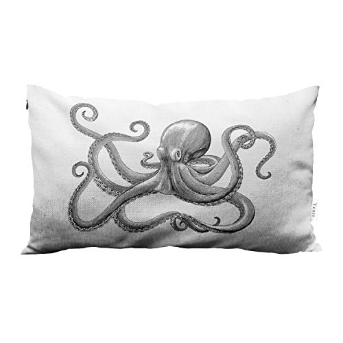 Yeuss Pillow Case Cover Octopus Hand Drawing Vintage Engraving Illustration On White Bk Octopus Home Chair Couch Decor Oblong Long 12X20 Inches