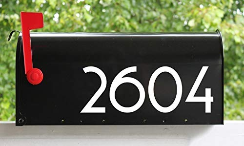 White - Modern Contemporary Mailbox Numbers - - 3  Tall - - Vinyl Sticker - Art Deco Name Home House Office Address - COPA - Die Cut Decal