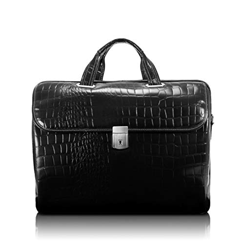 Siamod, Monterosso, SETTEMBRE, Embossed Crocco Leather, 15″ Leather Medium Ladies Laptop Briefcase, Black…