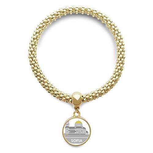 DIYthinker Damen Sofia Bulgarien Grau Zeichen Muster Goldene Armband Laufende Anhänger Schmuck-Kette