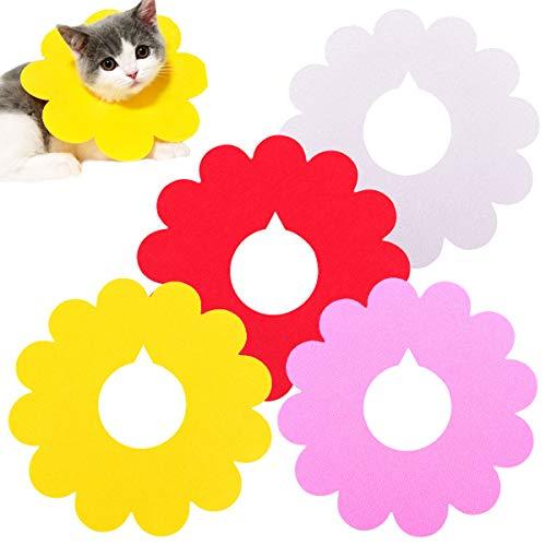 GLOBALDREAM Halskrause Katze, 4 Stück Schutzkragen Hund Justierbares Haustier Halsband Anti Bisskragen Haustierpflege Wunde Kragen für Hunde und Katzen (S, 4 Farben)