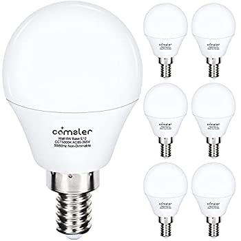Comzler Ceiling Fan Light Bulbs Candelabra LED Bulbs - 60 watt Equivalent 5000K Daylight White Candelabra E12 Base A15 Small Light Bulbs ,600lm,Non-Dimmable Pack of 6