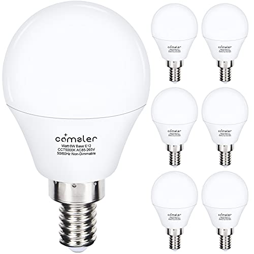 Comzler Ceiling Fan Light Bulbs Candelabra LED Bulbs - 60 watt Equivalent, 5000K Daylight White Candelabra E12 Base A15 Small Light Bulbs ,600lm,Non-Dimmable, Pack of 6