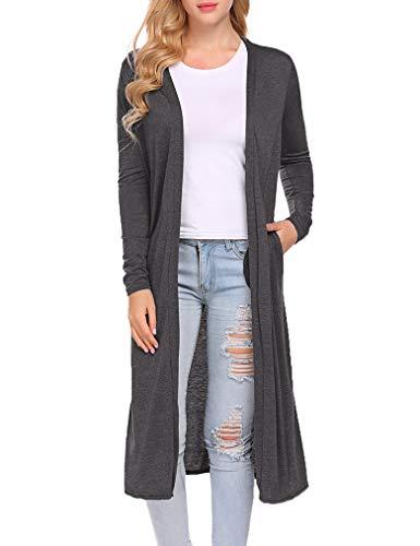 Locryz Women's Long Sleeve Open Front Drape Maxi Long Duster Cardigan(L,Dark Gray)