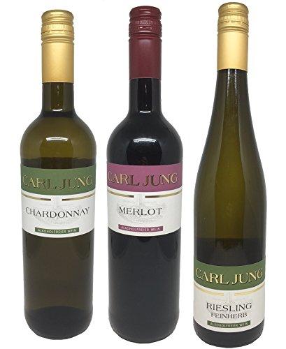Carl Jung - alkoholfreies Weinpaket (3x0,75l) - Chardonnay, Riesling, Merlot - Weißwein & Rotwein