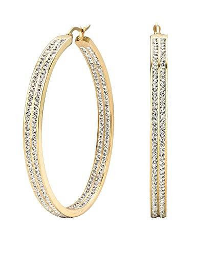Finrezio Zirkonia Ohrringe Creolen Edelstahl für Frauen Damen Groß Hoops Ohrringe Kreolen Gold