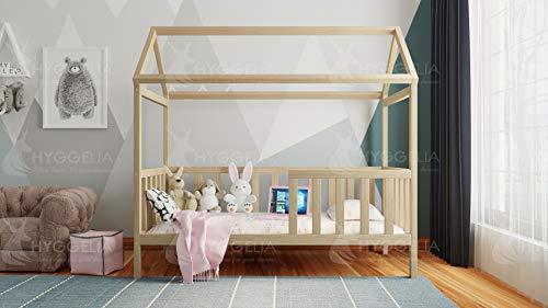Una cama infantil está hecha de madera de pino maciza, una estructura estable y sólida, como una casa con un dosel y una barandilla de seguridad (natural, 200 x 90 cm).