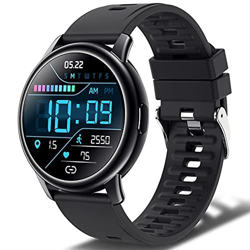 Smartwatch Hombre Mujer, Reloj Inteligente con 24 Modos Deportivos, IP68 Impermeable, Pulsera de Actividad con Pulsómetro, Monitor de Oxígeno de Sangre y Sueño Calorías, Duración de Batería 10