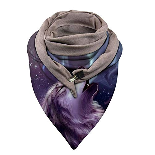 Dosoop Women's Spring Autumn Thick Warm Circle Loop Scarves Windproof Wolf Prints Double-Layer Buckle Scarf