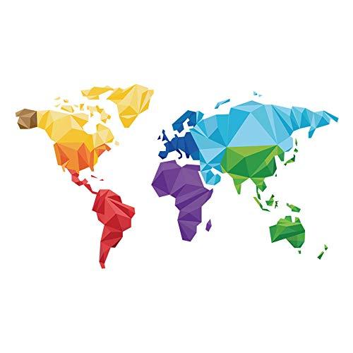 decalmile Pegatinas de Pared Tema de Origami Mapa del Mundo Vinilos Decorativos Niños Bebés Infantiles Dormitorio Salón Oficina Adhesivos Pared