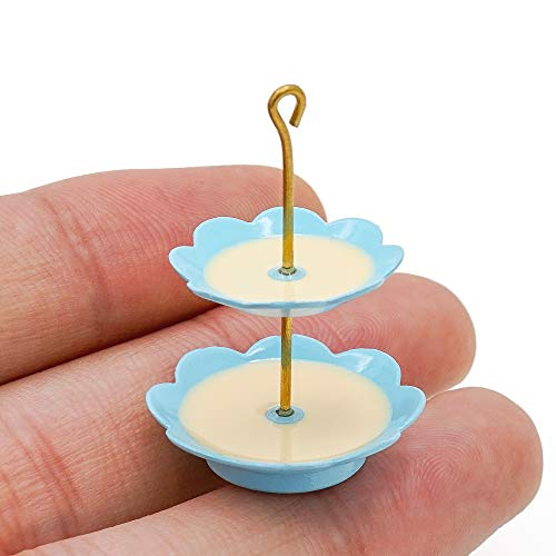 Odoria 1:12 Miniatura de 2 niveles de postre/Cupcake Stand Casa de muñecas Accesorios de cocina
