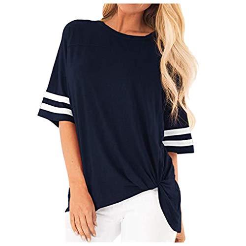 Auifor Damen gestreiften Halbärmel Tops, Tunika T-Shirt mit Knoten Saum, Sommer Casual Kurzarm O Hals Tee Bluse