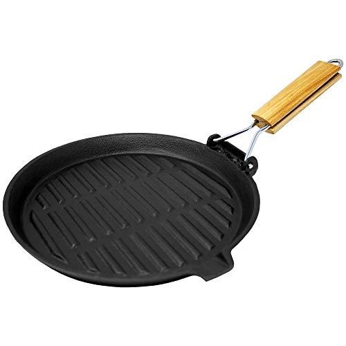 ToCis Big BBQ Grill- und Steakpfanne aus Gusseisen | 22cm mit klappbaren Griff