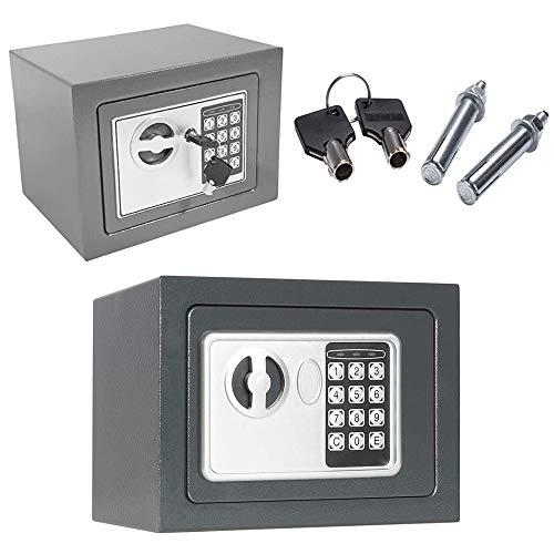 Tresor | 23 x 17 x 17 cm | Mini Digital Elektronischer Safe | Doppelbolzenverriegelung | Feuerfester und Wasserdichter | Wandtresor | Möbeltresor | Mini-Safe | Für Schmuck Bargeld | Grau