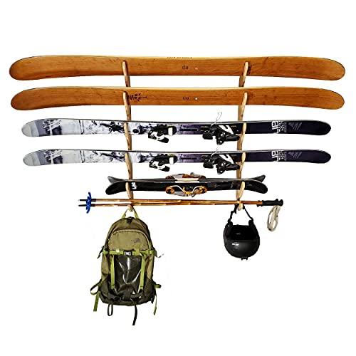 Grassracks Bamboo Horizontal Wall-Mounted Ski Storage Rack Hallsteiner Pro (4-5 Pairs of Skis,...