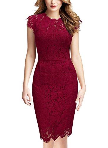 Miusol Women's Retro Floral Lace Slim Evening Cocktail Mini Dress (X-Large, Red)