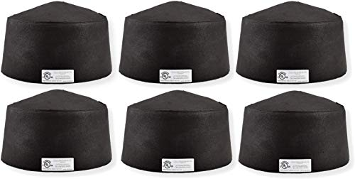 """Tenmat, 1 Hour UL Fire Rated Lighting Cover, Dimensions: Inside: 7.375""""H x 13"""" Diameter Overall: 8""""H x 14.25"""" Diameter, Material: Intumescent Material, Color: Black, Qty: 6"""