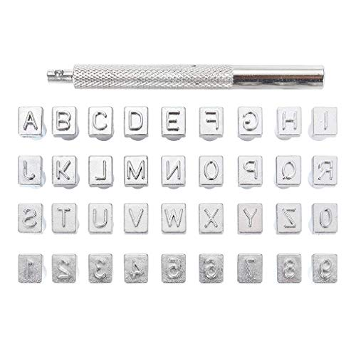 Fornateu Letras y números de Capital de la estampilla de marroquinería de Piel de Acero Inoxidable A-Z del Alfabeto 0-9 Números Herramientas de perforación