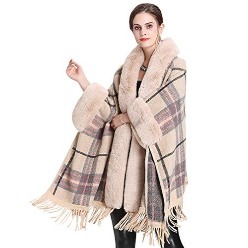 vannawong Poncho de piel sintética para mujer con capucha y borlas albaricoque Tallaúnica