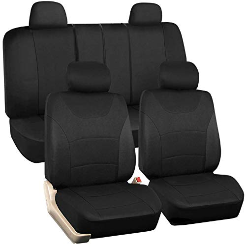 Black Car Seat Covers Full Set, 9 Pcs Combo Cloth Seat Cover with Steering Wheel Cover and Seat Belt Pad, Universal fit for Sedan/SUV/Pick up Truck