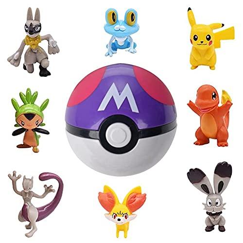 LKNBIF Pokeball Esportic Poké Ball Pokéball Pokemon Pokemon Pokeball Pikachu Pikachu Figurine Pokeball Boule Pokemon Pikachu 8 Petits Lutins + Une Poke Ball pour Enfants (Pikachu)