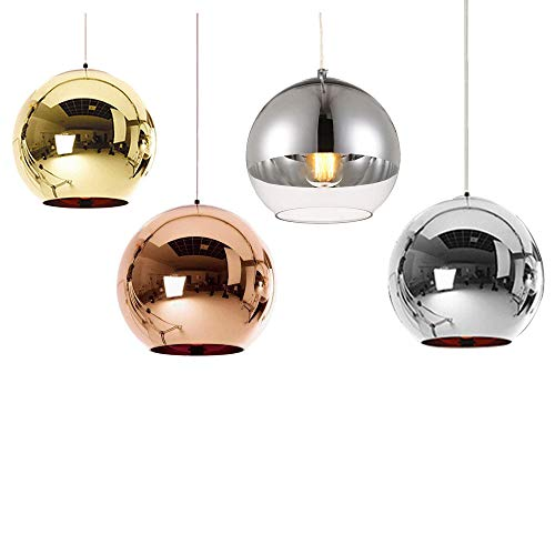 Huahan Haituo Hängeleuchte mit modernem Lampenschirm, Kupfer, verspiegelt, Kugel aus Chrom, mit Kabel von 120 cm, Durchmesser 15 cm, 20 cm oder 25 cm, E27, 40-100 watts (Bronze, 15cm)