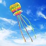 Homegoo 5M Grande Cometa, Cometas Grandes de Arco Iris Fáciles de Volar de con largas Colas Coloridas para Adultos Juegos y Actividades al Aire Libre