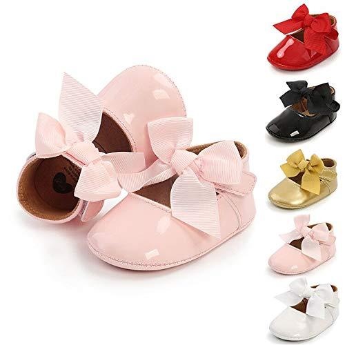 BiBeGoi - Costume da principessa per neonate, con fiocco, suola antiscivolo, per primi passi, a rosa, 6-12 mesi