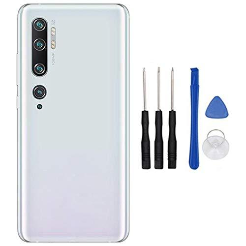 soliocial Tapa Trasera de Batería Battery Cover + Lente de la Cámara para Xiaomi Mi Note 10 / CC9 Pro 6.47 Inch Glaciar Blanco