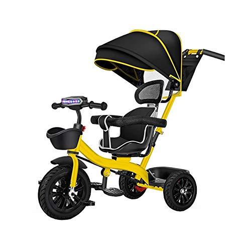 WOF 4 en 1 Stroll Trike Baby Ride -Parent Handle, Push Car with Footrest, Canopy Adjustable, Harness Safety Lockable Pedal, ABS Foot Pedals, Storage Bag, Sponge Guardrail, Detachable Guardrail