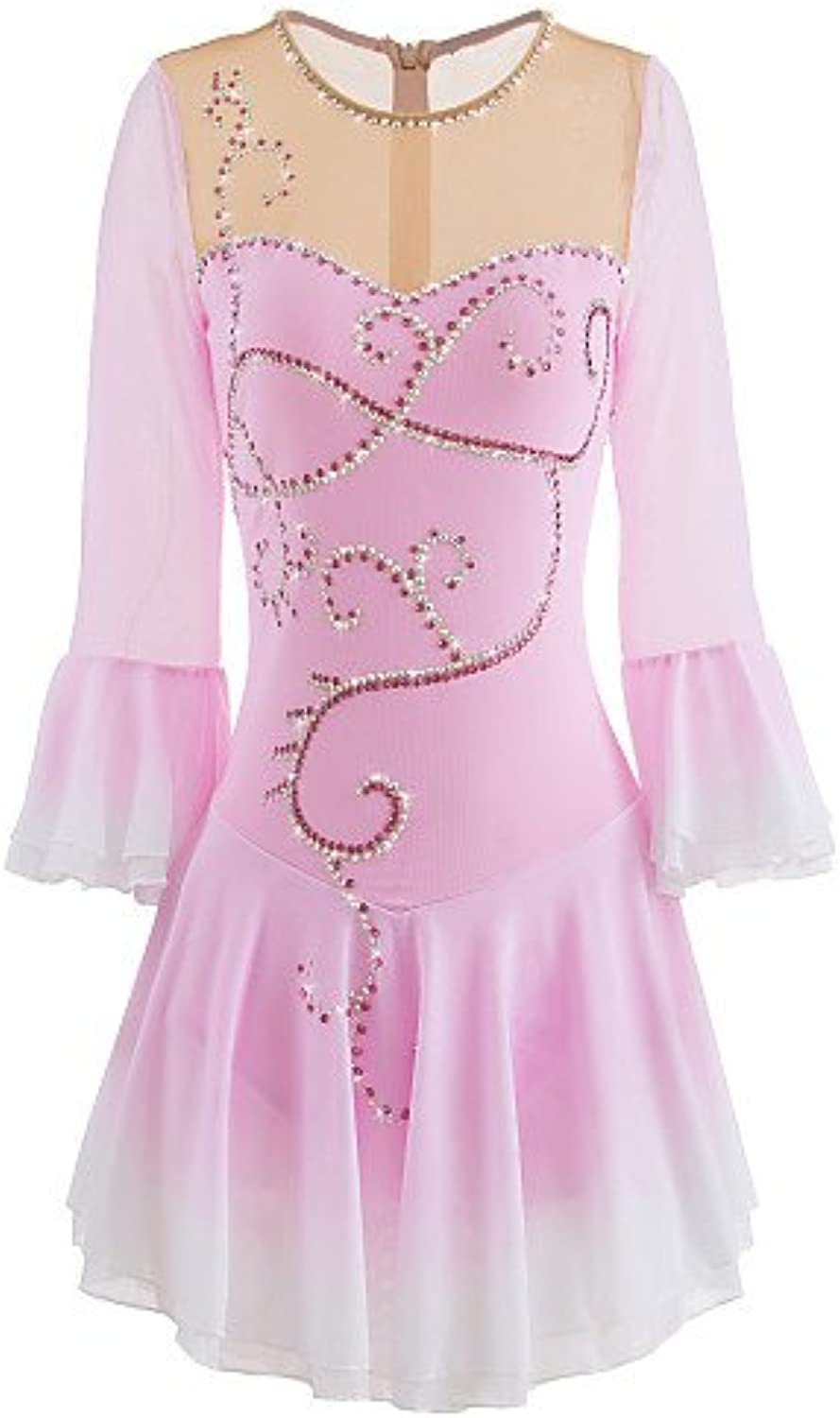 Heart&M Ice Skating Dress for Girls Women Figure Skating Competition Costume Professional Half Sleeved Pink White