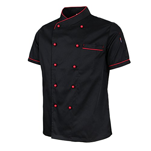 oshhni Chaqueta de Chef de Manga Corta Ropa de Chef Chaqueta de Panadero Ropa de Trabajo de Catering - Negro, SG