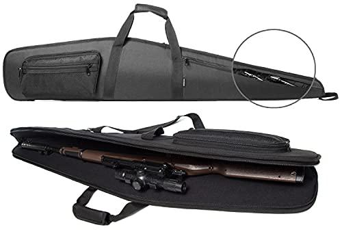 RAVOINCC Rifle Shotgun Case for Scoped Rifles Soft Padded Gun Carry Bag with Zipper Pocket Adjustable Shoulder Strap Available Length in 46 Inch Black