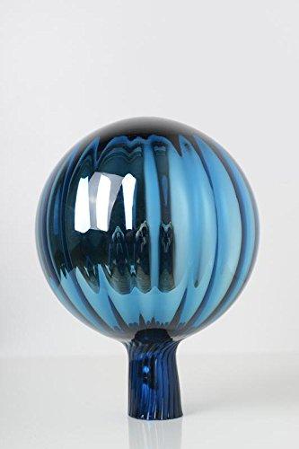 Rosenkugel aus Glas für den Garten – perfekte handgemachte Garten-Dekoration für Ihr Blumenbeetin vielen Farben, Formen und Größen, Hoche 18cm und Durchschnittlich 12cm, Türkis