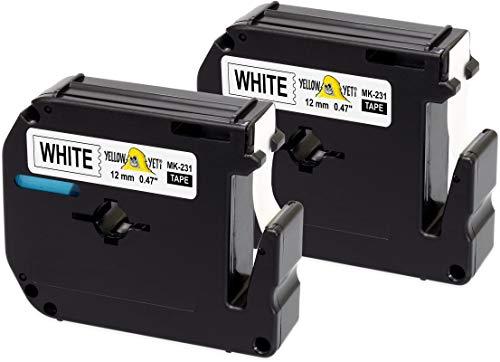 Yellow Yeti 2 Schriftbander M K231 MK231 MK-231BZ schwarz auf weiß 12mm x 8m kompatibel für Brother P-Touch BB-4 PT-45 PT-55 PT-65 PT-70 PT-75 PT-80 PT-85 PT-90 PT-M95 PT-100 PT-110 Etikettendrucker
