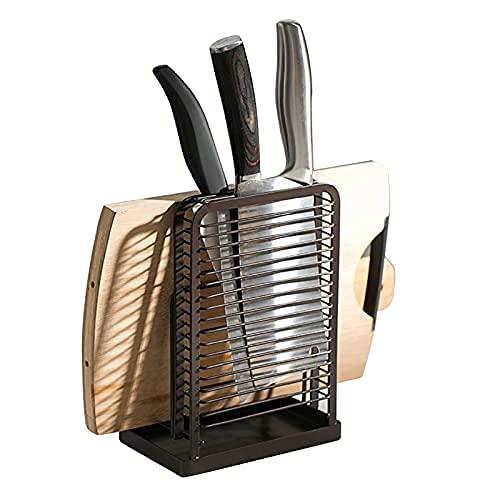 Tråd metall kniv block skärbräda hackare hållare torkställ köksförvaring organisering bänk visningsstativ, samlarbräda organiserare rostfri, hushåll knivhållare, grytlocksställ