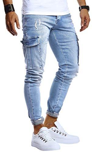 Leif Nelson Herren Jeans Hose Stretch Slim Fit Denim Blaue Lange Jeanshose für Männer Coole Jungen weiße Freizeithose H. Blaue Cargo Chino Sommer Winter Basic LN9445 H. Blau W36L32