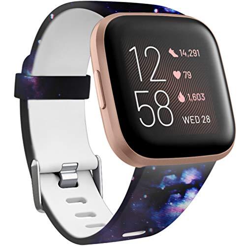 Wepro Kompatibel für Fitbit Versa Armband/Fitbit Versa 2 Armband, Wasserdichtes Blume Ersatz Armbänder Musterband Kompatibel mit Fitbit Versa/Fitbit Versa Lite Smartwatch, Klein Sterne