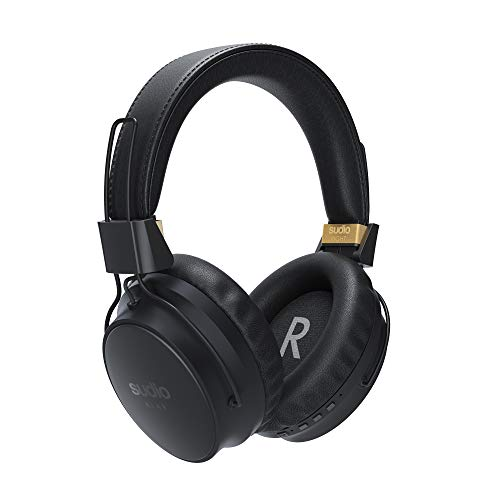 Sudio Klar True Wireless Over-Ear Kopfhörer- Active Noise Cancelling (ANC), 30 Stunden Spielzeit, Integriertes Mikrofon, Android, iOS (Schwarz)