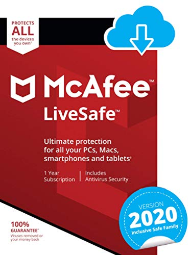 McAfee LiveSafe 2021   Unlimited Devices   1 Year  ...
