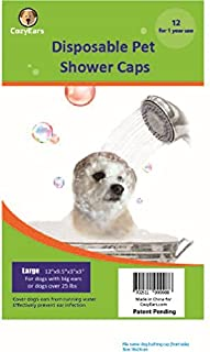 Disposable Pet Shower Caps, Ear Infection Prevention, Ears Drops Guard, Surgical Area Cover, Overhanging Ears Protection for Dogs, Cats, Bath, Rain, Water, 12 Caps/Pack