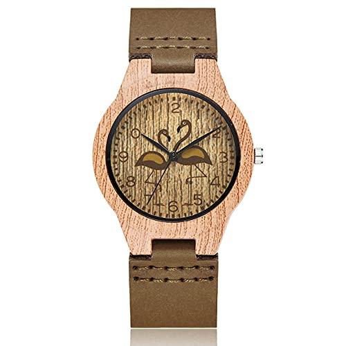 KUELXV Reloj de Pulsera de Madera Reloj de imitación de Madera de Ciervo para Hombres y Mujeres, Reloj de Pulsera de Avestruz para Hombre, Reloj de Pulsera de Cuero Suave para Hombre, Reloj de Puls